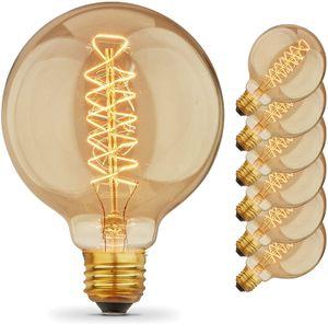 Урожай Эдисон лампы с Спираль накаливания, 40W Dimmable E27 G95 Круглый глобус Большой Антикварный свет, Позолоченная отделка промышленного дизайна Amber W