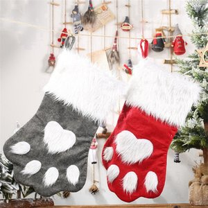 Cute Dog Paw Weihnachtsstrümpfe Weihnachtsbaumschmuck Kinder Kindergeschenke Beuter Weihnachtsdeko RRA3302