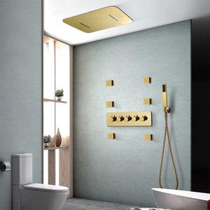 스마트 블루투스 뮤직 샤워는 강우 폭포 샤워기 현대 LED 샤워 세트 골드 컬러 온도 조절 믹서 설정