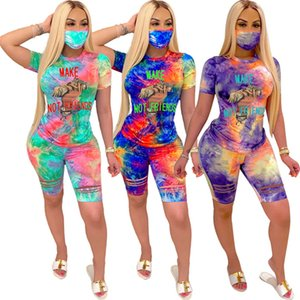 Women Summer Printed Short Sleeve Suit tracksuits pullover Casual T-shirt+Shorts Jogging Suit no mask 3245
