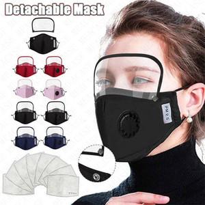 Cotton respiro válvula Homens Mulheres rosto cheio máscaras com filtros contra pó respirabilidade destacável Facemask Tampa Boutique 4 estilos D71507