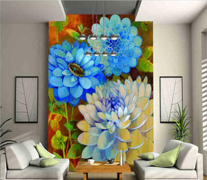 American restaurant vertical papel de parede villa entrance aisle decorative mural hand-painted European classical flower peony oil painting