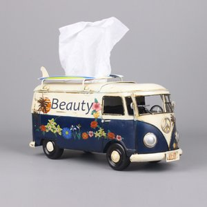 Multicolor Flower Bus Model Figurines Retro Car Tissue Box Home Decoration Ornaments Crafts Vintage Ornaments Living Room Decor T200710