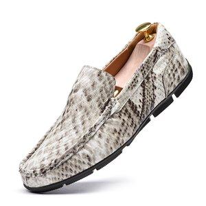 Padrão Zeguuer Marca Moda Snakeskin Homens calçados casuais plus-size Comfy Masculino de condução Shoes Deslizamento-em Loafers Casual Schoenen