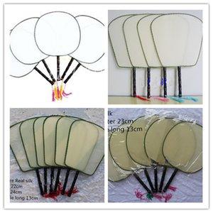 Weiß Vintage Personalisierte Silk Handventilator Griff Runde chinesische Hand Fans Kind Studenten DIY Kunst-Programm Gemälde 100 Stück