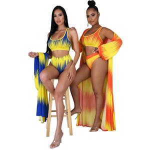 Женская 3 шт Комплекты Комплекты Sexy Printed высокой талией Два Бюстье бикини Длинные рукава Cover Up Пляж Лето Женская одежда