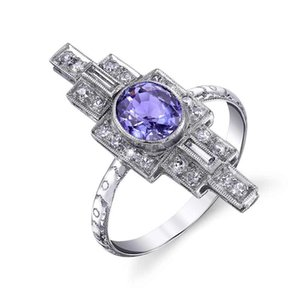 AprilGrass Brand Neo-Gothic Baroque Stylish Wholesale Special Shaped Design With Bright Purple Cubic Zircon Stone Women Party Rings