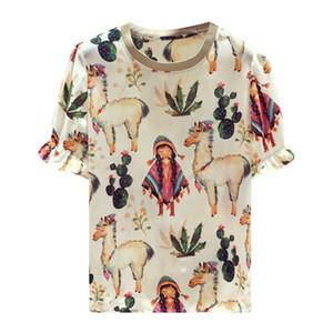 top maglietta allentata bianca 20200721 Stampato camicia di chiffon
