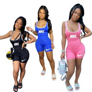 Las mujeres del verano pone en cortocircuito diseño del mono de la tapa del tanque de la moda de los mamelucos del negro sin mangas flacas bodys marca casuales pantalones cortos azules 3548