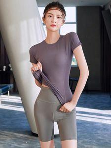 Sports Top Women Yoga wear summer underwear thin mesh red ins tight outer short sleeve T-shirt gym running