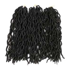"Shanghair 18"" Ombe gitana Locs ganchillo Cabello ondulado 100g / pc Faux Locs ganchillo Trenzas 24 Roots diosa Locs trenzado del ganchillo extensiones de pelo"