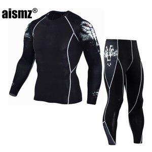 Aismz rashgard длинным рукавом Фитнес Set трико для мужчин Compression Эластичность Quick Dry Breath T-Shirt Tactical Мужская футболка XXXXL