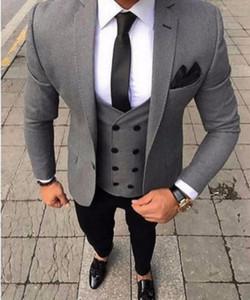 Latest Coat Pants Design Italian Grey Men Suit Wedding Tuxedo Slim Fit Groom Prom Custom Blazer 3 Pieces(Jacket+Vest+Pants)