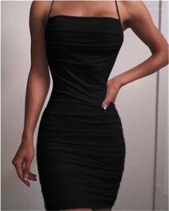 Plisado bodycon vestidos sin mangas del tirante de espagueti de la camiseta ocasional de los vestidos del lápiz Mujer Sexy ropa de verano para mujer Desinger