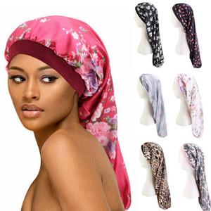 Длинные волосы Сон Hat Цветочные Wrap Night Cap Уход за волосами Bonnet Упругие Широкополосные Женщины атласная Hat Уход за волосами Headcover HHA1471