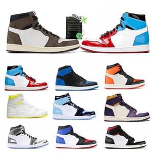 2021 Mens 1s yüksek og basketbol ayakkabıları 1 Kraliyet Burun Obsidian UNC Patent Çam Yeşil Korkusuz Batik erkek kadın eğitmenler spor ayakkabılarını jumpman