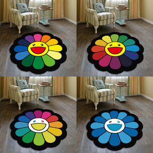 Round Carpets Colorful Sunflower Print Carpet Anti-slip Rugs Computer Chair Mat Home Decor Floor Mat for Kids Room