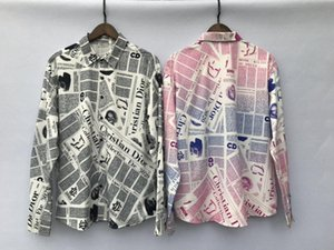 20ss nueva llegada de París camisa de estampado de periódico diseñador de moda transpirable camisetas Hombres Mujeres blusas Streetwear al aire libre ocasional camiseta 6,28