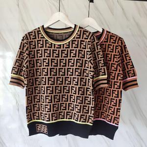 roupas femininas de moda de verão duplo Letra F shirt clássico Jacquard manga curta Pullover malha T-shirt mulheres alta qualidade