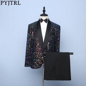 PYJTRL Mens 2-piece Set Colorful Sequins Suits With Pants Stage Singers Costume Wedding Groom Prom Slim Fit Dress Tuxedo