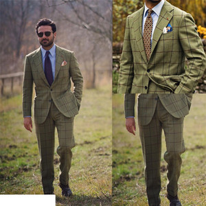 Handsome 2 Piece Wool Blend Green Plaid Pattern Men Suits Groom Suit Formal Wedding Suits For Best Men Custom Made Slim Fit Groom Tuxedos
