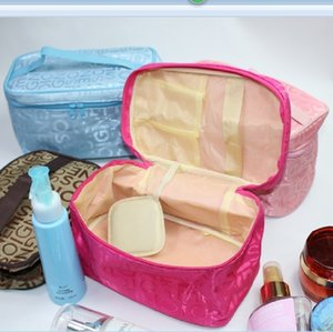 portable cosmetic square large capacity Mirror wash bag letter cosmetic bag