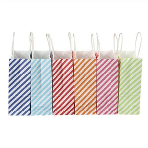 12 Pcs lot Striped Gift Bag with Handles Birthday paper gifts bag Festive Party Favor 33x26x12cm