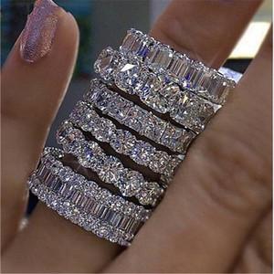 Joyería de moda de la vendimia real Choucong 925 princesa Topaz blanco CZ Diamante Eternidad mujeres compromiso de la boda anillo de la venda A02102