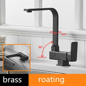 Black Brass Kitchen Faucets Hot and Cold Water Faucet Under Window Creative Folding Basins Short Tap Rotatable faucet AIS281S T200710