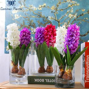 1 PCS Artificial Flower Hyacinth with Bulbs Home Table Bonsai Potted Home Garden Office Decoration Wedding Christmas Decoration