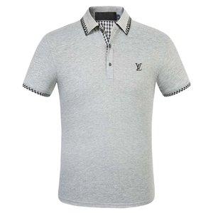 Yarım kollu kısa kollu polo gömlek erkek iş stand-up yaka tişört erkek tasarımcı tişört 2020 yeni yaz pamuk yaka spor