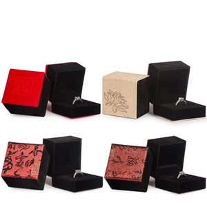 Bague boîte carrée Boîte à bijoux Fleurs Lignes Figure Ailes COUVERTURE Organisateurs Lovers Proposition Black Base 1 85cy C2