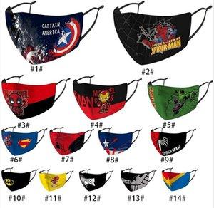 facial de lujo niños de superhéroes diseñador Ironman Batman Spiderman Thanos máscara máscaras del partido de Cosplay Escudo reutilizable polvo a prueba de viento de algodón
