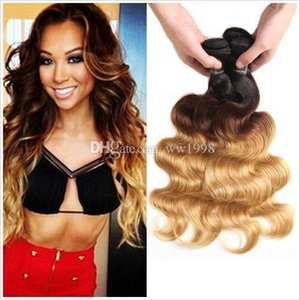T 1B 27 Dark Root Honey Blonde Body Wave Ombre Human Hair Weave 3 Bundles with Lace Closure Brazilian Virgin Hair Extensions Weft
