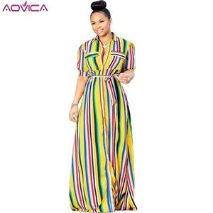 Aovica 2020 Yeni Zarif Stil Marka Moda Bayan Uzun Elbise Çizgili Yaka Kısa Kollu Bant Maxi Elbise vestidos Turn-down