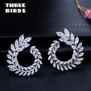 Trendy Zirconia crystal Sparkly Olive Branch Leaf Shape flower Earrings Big Stud Earrings For Women boucle d'oreille femme 2019