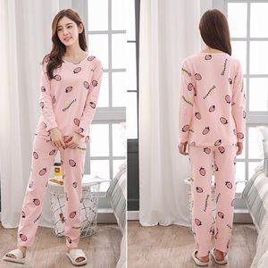 Mignon Vêtements Femmes d'été Femmes Ensembles Pyjama Costumes à manches longues de nuit Girl Fashion Casual vêtement de nuit Costume Nuit