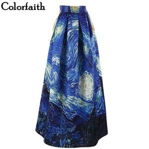 Pittura Donne Maxi Gonne Van Gogh Sky Oil 3D Digital Print Gonna a vita alta Rockabilly Tutu Retro Puff Skirt SP003 T200712