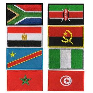 3D Embroidery Africa Paese Sudafrica Egitto Kenya Congo Nigeria Angola Marocco Flag Badge Patch Giacca di jeans Accessori