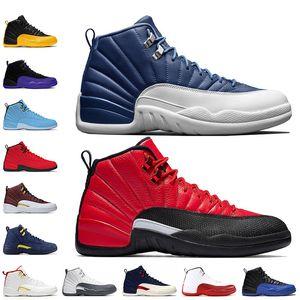 2020 New Stone Bleu 12 inversée grippe Jeu Jumpman 12 12s Hommes chaussures de basket-ball en cuir Université rétro mode sneakers Dark Gold Concord