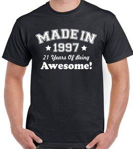 Hot Sale feitas em 1997 aniversário de 21 anos T-shirt 21 anos Presente da Present camisetas Engraçado Moda