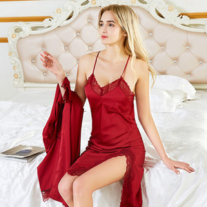 Summer Women 's Sleep & Lounge Lace & Satin Female Pyjamas Sets Nighties Sleepwear Two Pieces Robe Gown Sets NEW
