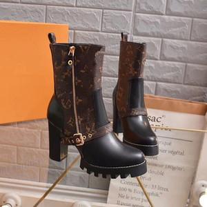 Louis Vuitton LV Étoile Bottines Femmes Talon Chunky Bottines à lacets hiver Martin Bottes Ladys Fashion Booti mjk02