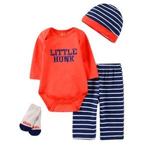 4pcs Baby bodysuits girls 2020 Autumn child Sets Newborn Baby Boy body suits+pants+bib+socks Outfits