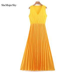 SheMujerSky Yellow Pleated Midi Women Dress Summer V-neck Sleeveless Dresses Woman Dress Elegant Evening 2020