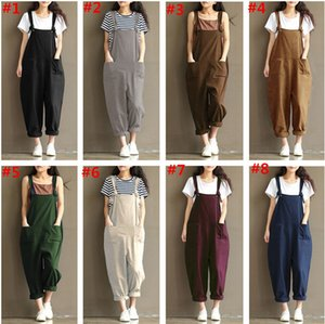S-5XL Women Suspenders Loose Cotton Jumpsuits Casual Overalls Gallus Spring Designer Long Pants Bodysuit Sleeveless Jumpsuit Clothing 8Color