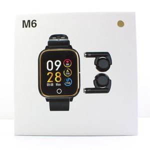 متعدد الألوان M6 سماعة بلوتوث ووتش الذكية الرجال والنساء معدل ضربات القلب المقتفي M6 TWS اللاسلكية سماعات الأذن تذكير دعوة / رسالة لالروبوت دائرة الرقابة الداخلية