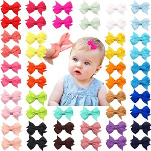 "50 Pieces 25 Colors in Pairs Baby Girls Fully Lined Hair Pins Tiny 2"" Hair Bows Alligator Clips for Little Girls Infants Toddler Y200710"