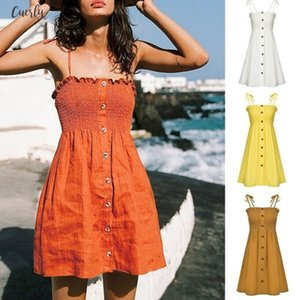 Sexy Womens Dress Fashion Ladies Solid Color Bind Buttons Casual Beach Dress Casual Ladies Summer Dress Vestidos Verano New