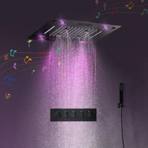 욕실 액세서리 블루투스 뮤직 샤워 헤드 세트 매트 블랙 샤워 패널 마사지 목욕 샤워 꼭지 온도 조절 밸브 믹서